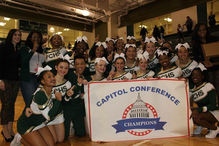 Varsity Cheer after winning the Capitol Conference Championship. (Photo courtesy of Emily Santos)